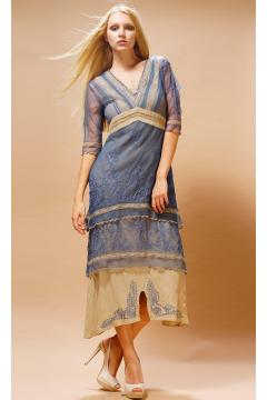 Titanic Tea Party Dress in Blue/Sand by Nataya - SOLD OUT