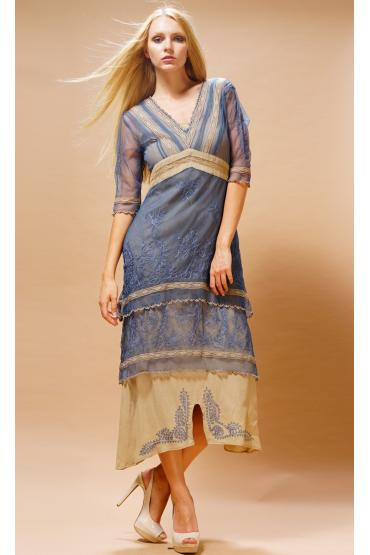 Titanic Tea Party Dress in Blue-Sand by Nataya