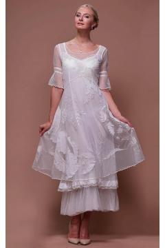 Tiered Titanic Vintage Inspired Dress in Ivory by Nataya - SOLD OUT