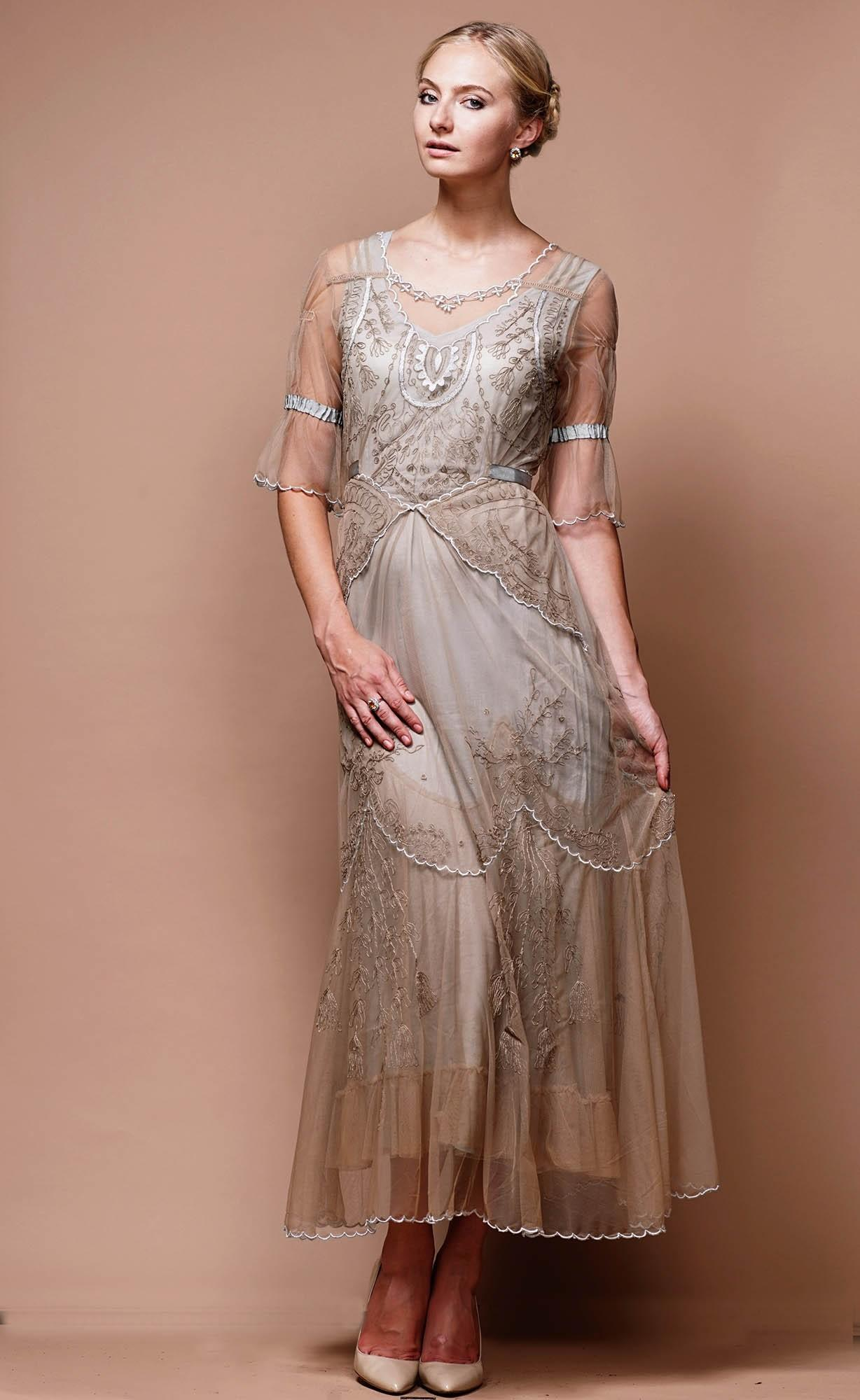 Edwardian Vintage Wedding Dress in Sand-Silver by Nataya