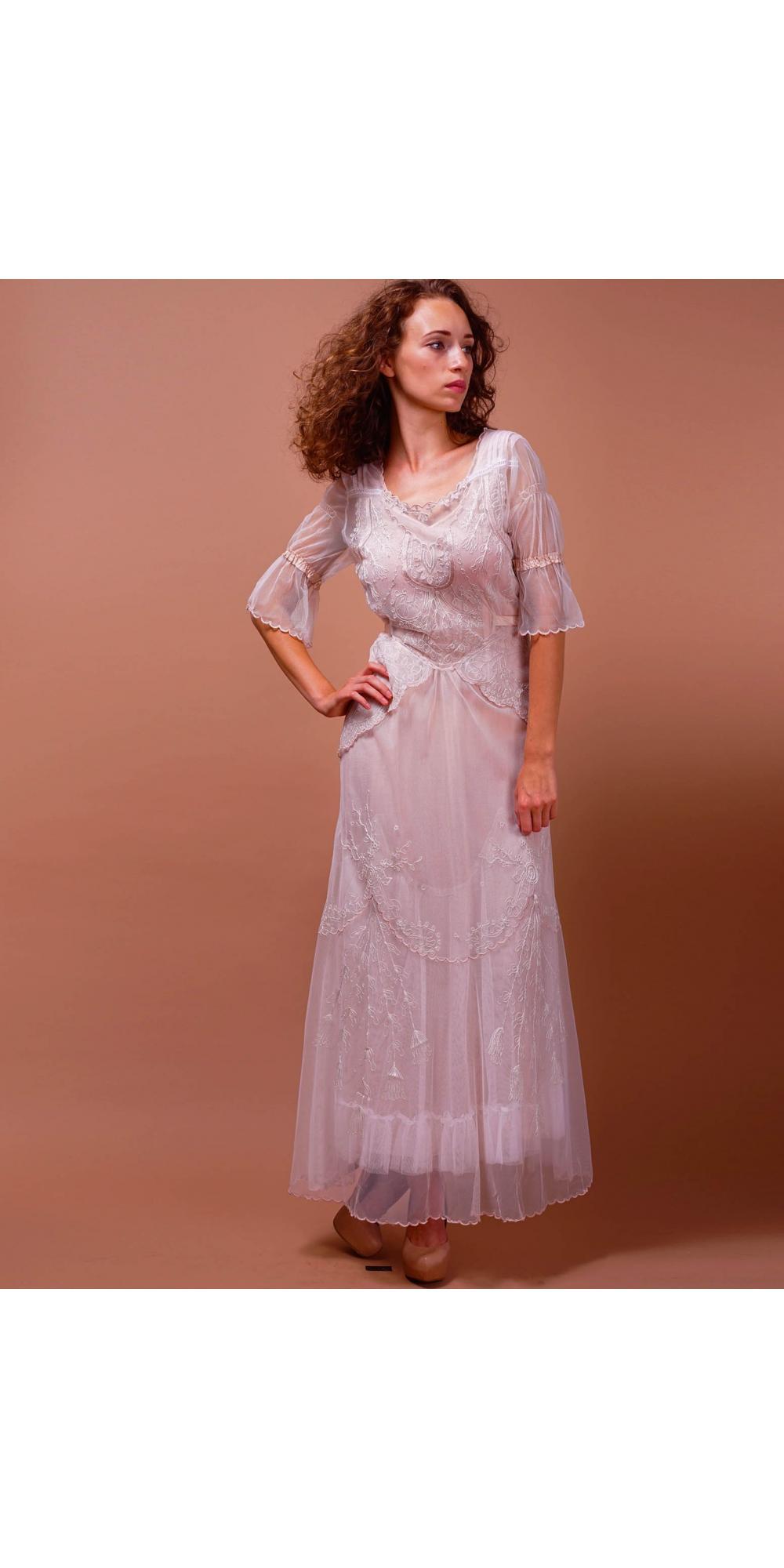 Edwardian vintage wedding dress in ivory blush by nataya for Vintage ivory wedding dresses