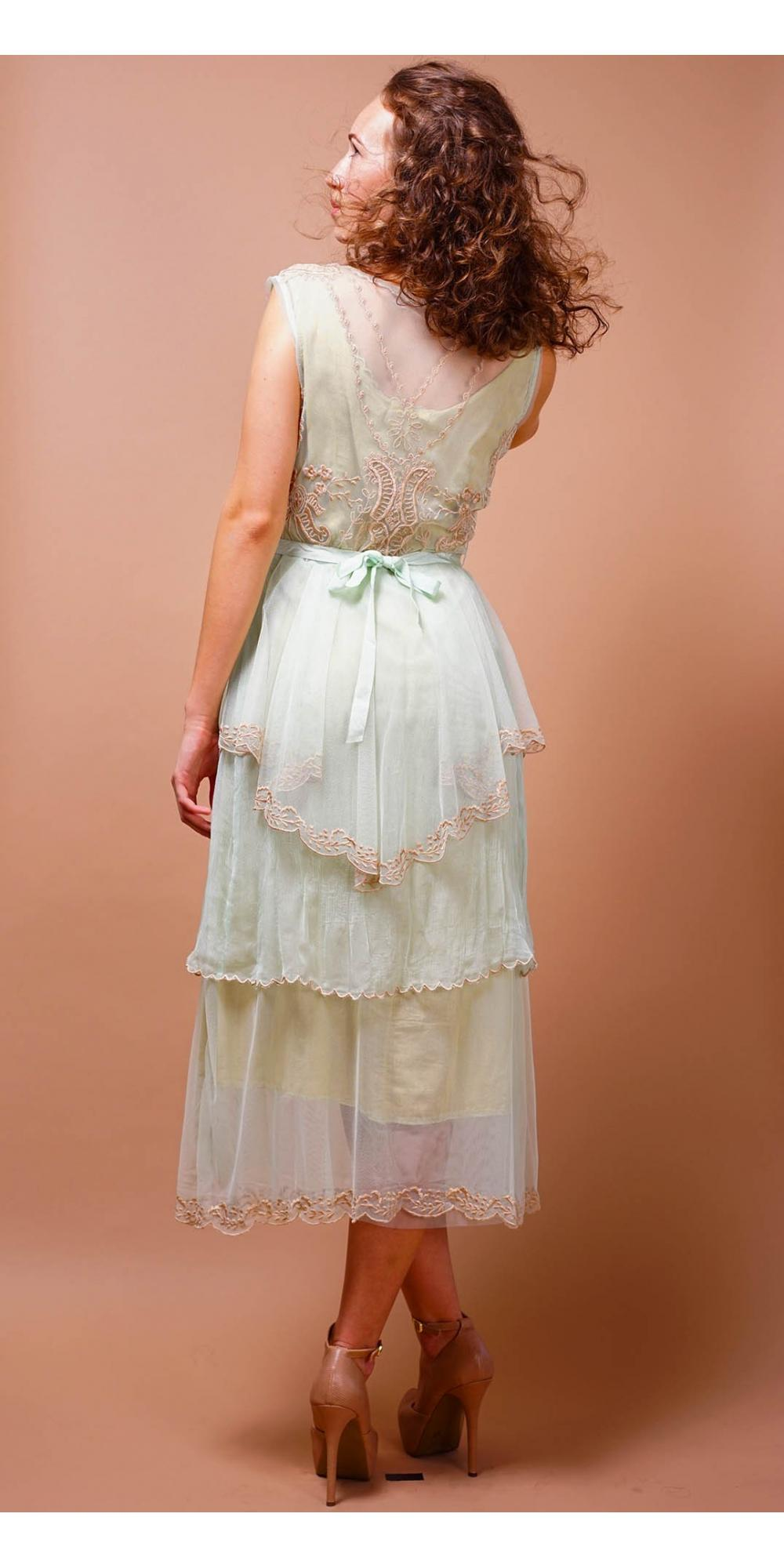 Tiered Vintage Style Tea Party Dress In Mint By Nataya