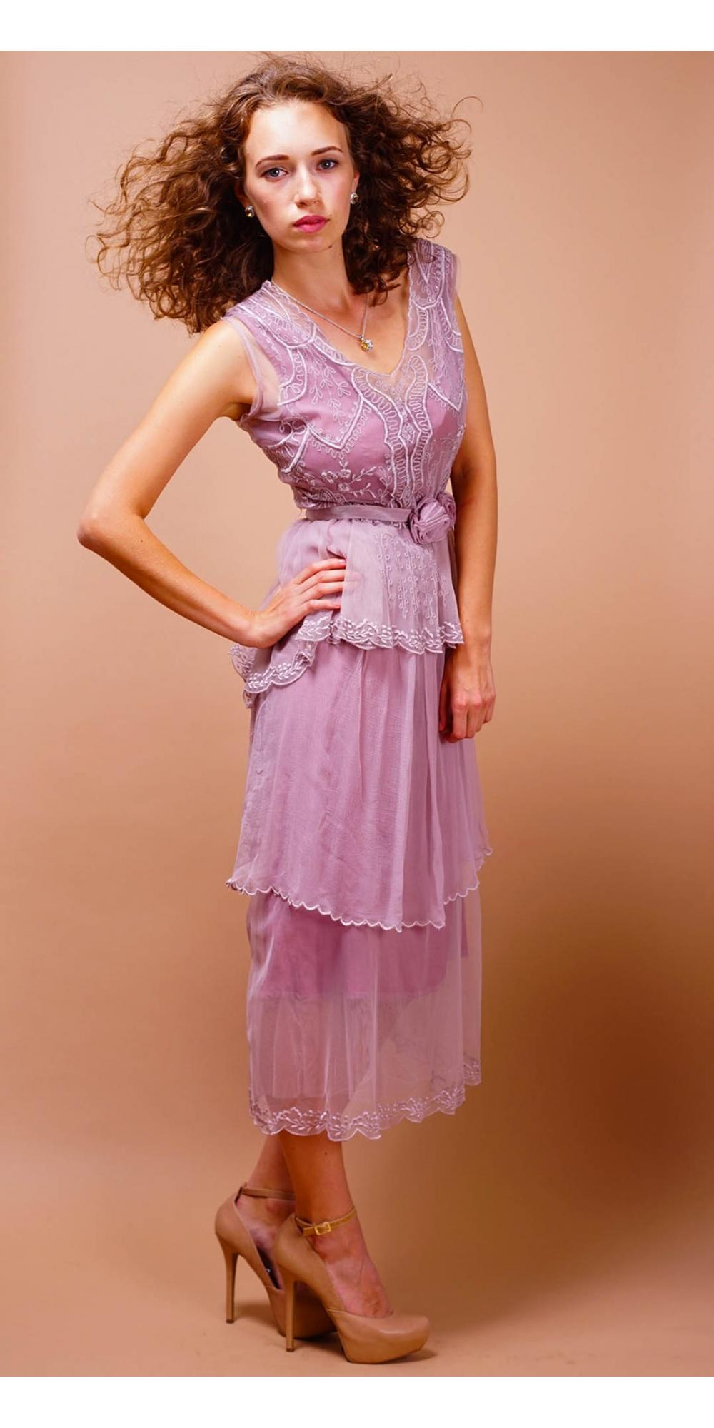 Tiered Vintage Style Tea Party Dress in Lavender-Rose by Nataya