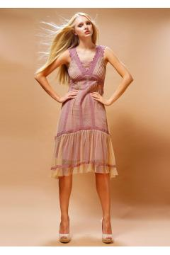 Nataya 220 Bohemian Vintage Inspired Party Dress in Rose/Beige