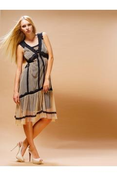Nataya 220 Bohemian Vintage Inspired Party Dress in Black Beige