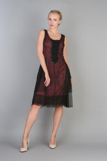 Nataya 232 Vintage Embroidered Ruffled Party Dress