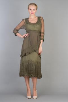 Nataya 40221 Ruffled Tea Party Dress in Aloe