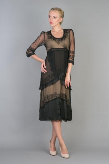 Nataya 40221 Ruffled Tea Party Dress in Black/Gold