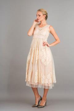 Nataya 40250 Vintage Inspired Party Dress in Ecru