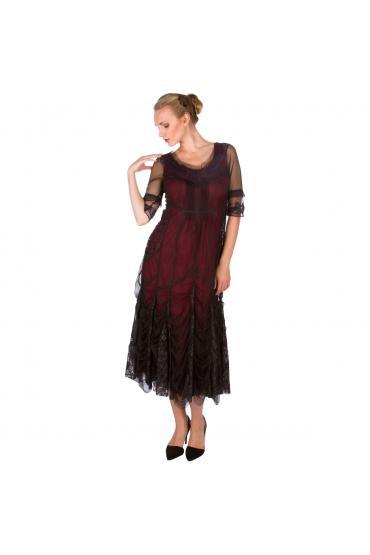 Nataya 40257 Vintage Inspired Party Dress in Wine
