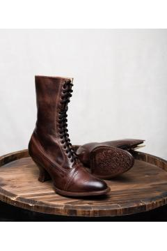 Victorian Style Leather Boots in Teak Rustic