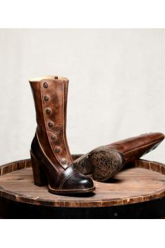 Steampunk Style Leather Boots in Black Teak