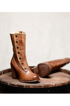 Steampunk Style Leather Boots in Tan Rustic