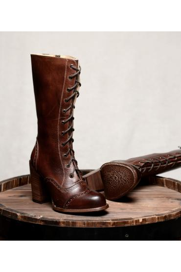 Victorian Inspired Leather Boots in Teak Rustic