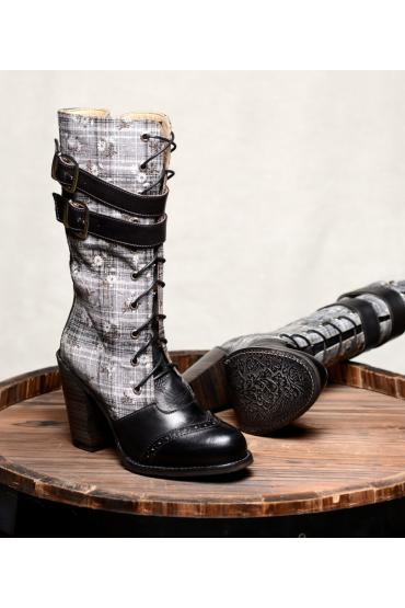 Steampunk Style Leather Black Boots