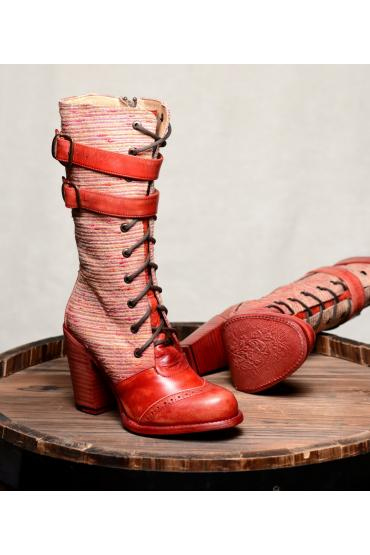 Steampunk Style Leather Red Boots