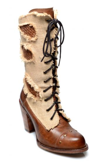 Vintage Style Leather Boots in Tan Rustic