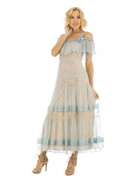 Nataya 40271 Vintage Style Wedding Dress in Blue