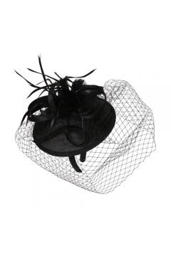 1920s Inspired Fascinator with Mesh Veil in Black