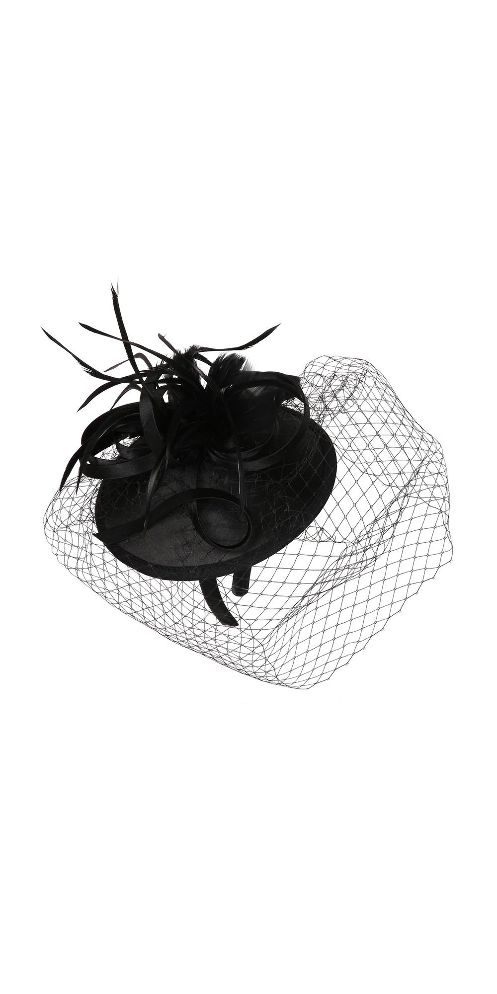 1920s Inspired Fascinator with Mesh Veil in Black 2e26a7551a5
