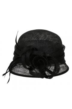 1920s Style Sinamay Bucket Hat in Black