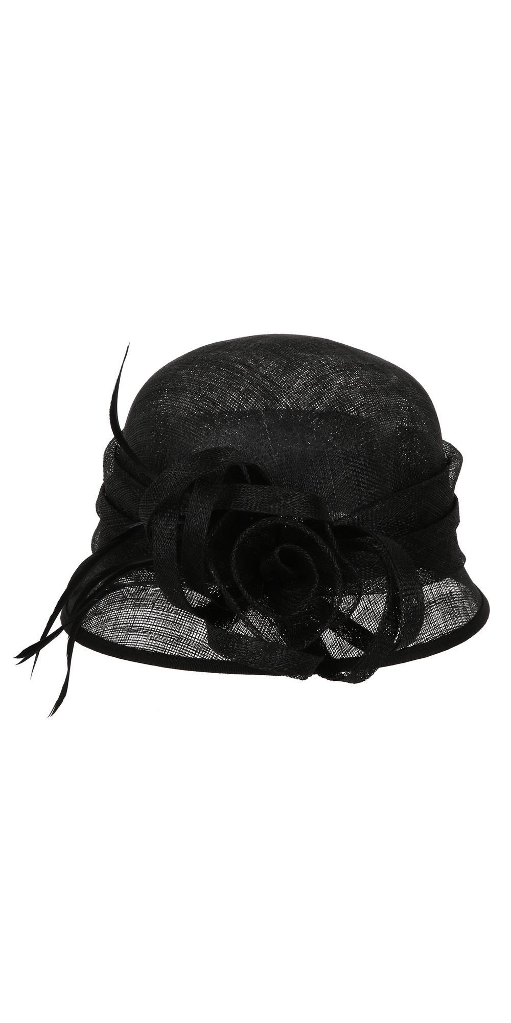 35862097 1920s Style Sinamay Bucket Hat in Black