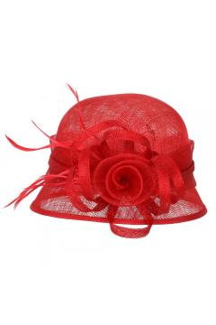 1920s Style Sinamay Bucket Hat in Red