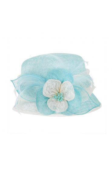 1920s Style Sinamay Hat in Aqua