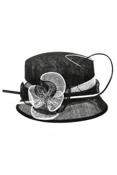 1920s Cloche Sinamay Hat in Black White