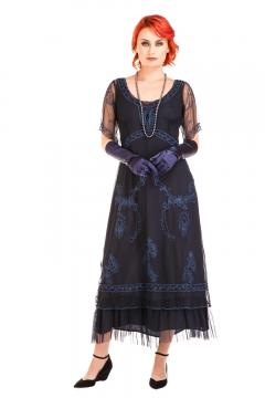 Nataya CL-168 Vintage Style Party Dress in Sapphire