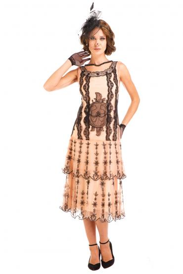 Nataya AL-282 Vintage Style Dress in Peach/Black