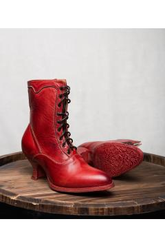 Victorian Style Ankle Boots in Red Rustic