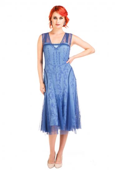 Nataya AL-281 Vintage Style Dress in Periwinkle