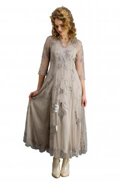 Nataya CL-2149 Vintage Style Wedding Dress in Silver/Grey