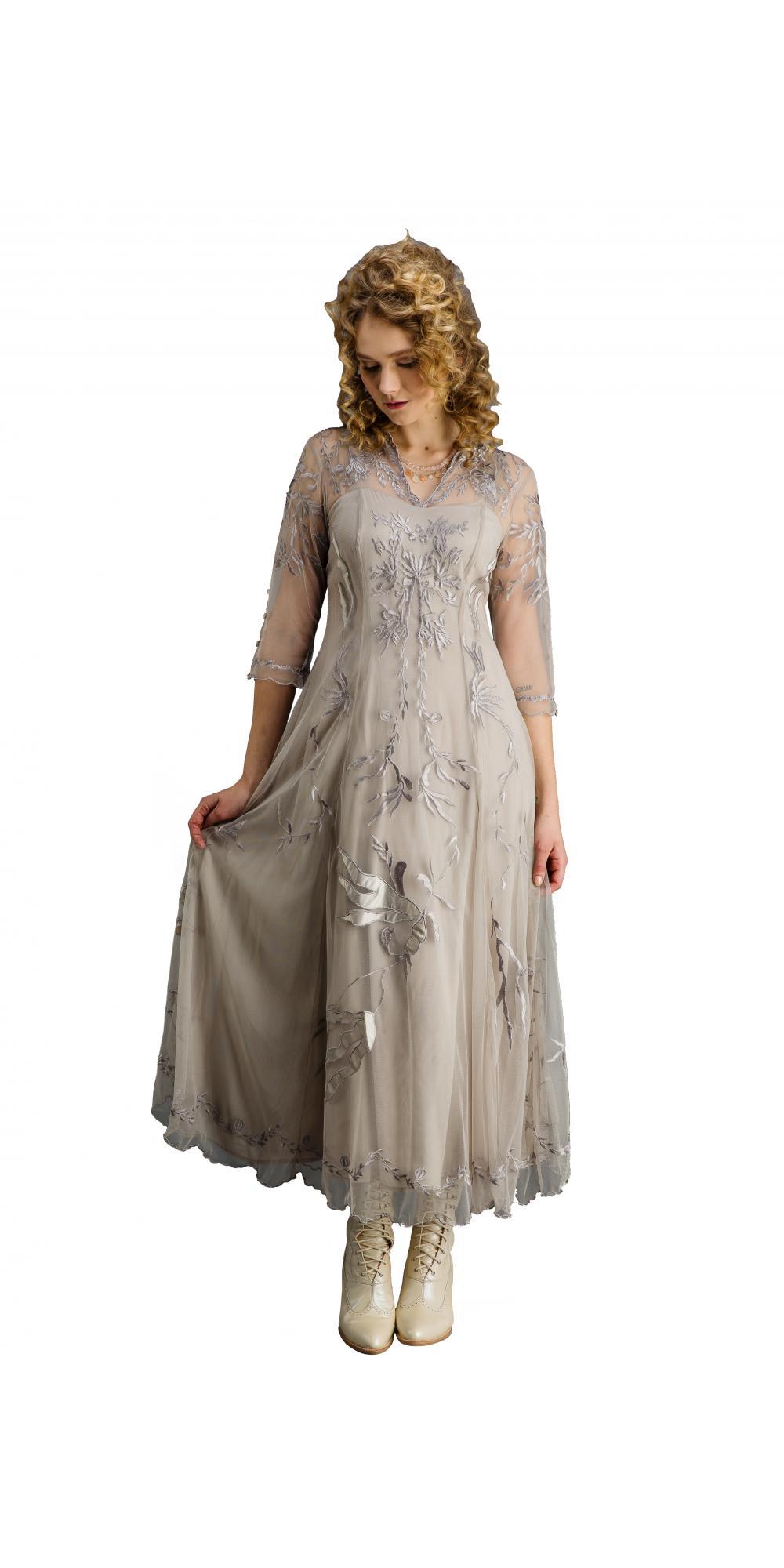 True Romance Nataya CL-2149 Vintage Style Wedding Dress in Silver/Grey