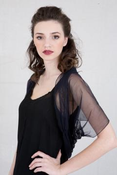 Rouched Back Nataya Shrug in Black