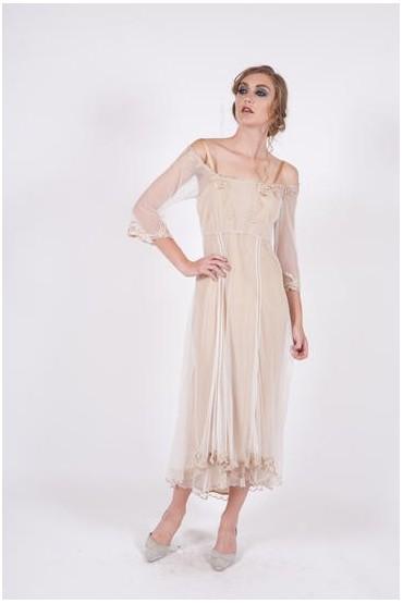 40147 Ivory/Gold Tulle Empress Nataya Dress
