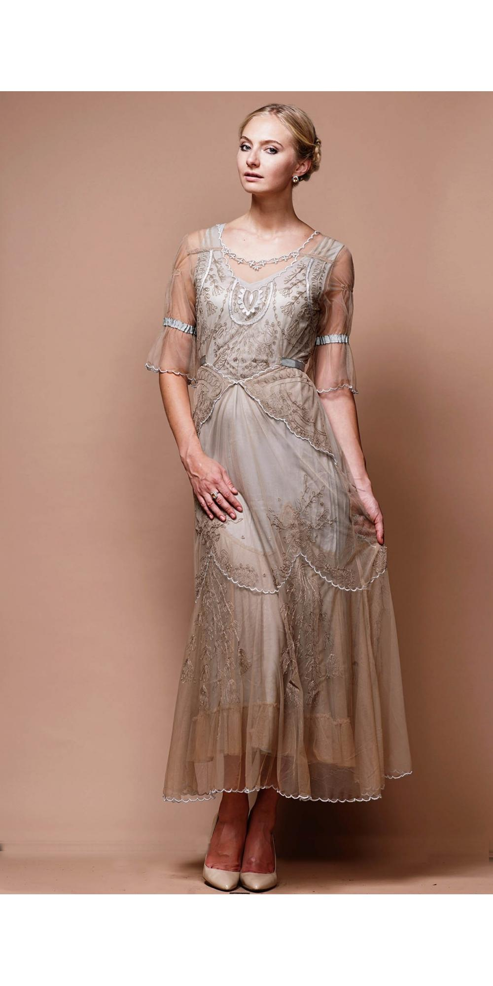 Edwardian Vintage Wedding Dress In Sand Silver By Nataya