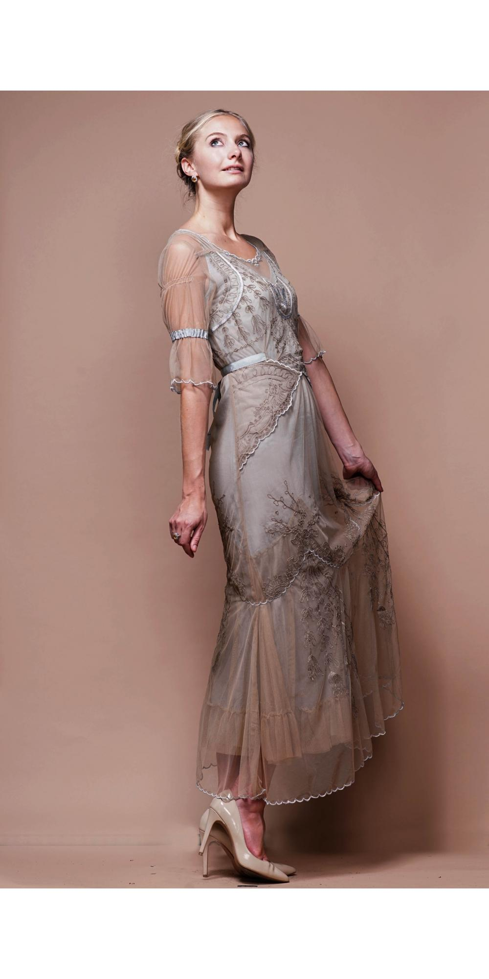 Edwardian Vintage Wedding Dress in Sand/Silver by Nataya - SOLD OUT