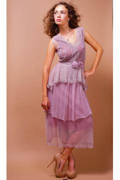Tiered Vintage Style Tea Party Dress in Lavender/Rose by Nataya