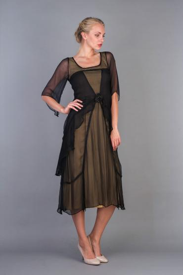 Nataya 10709 Great Gatsby Dress in Black Gold