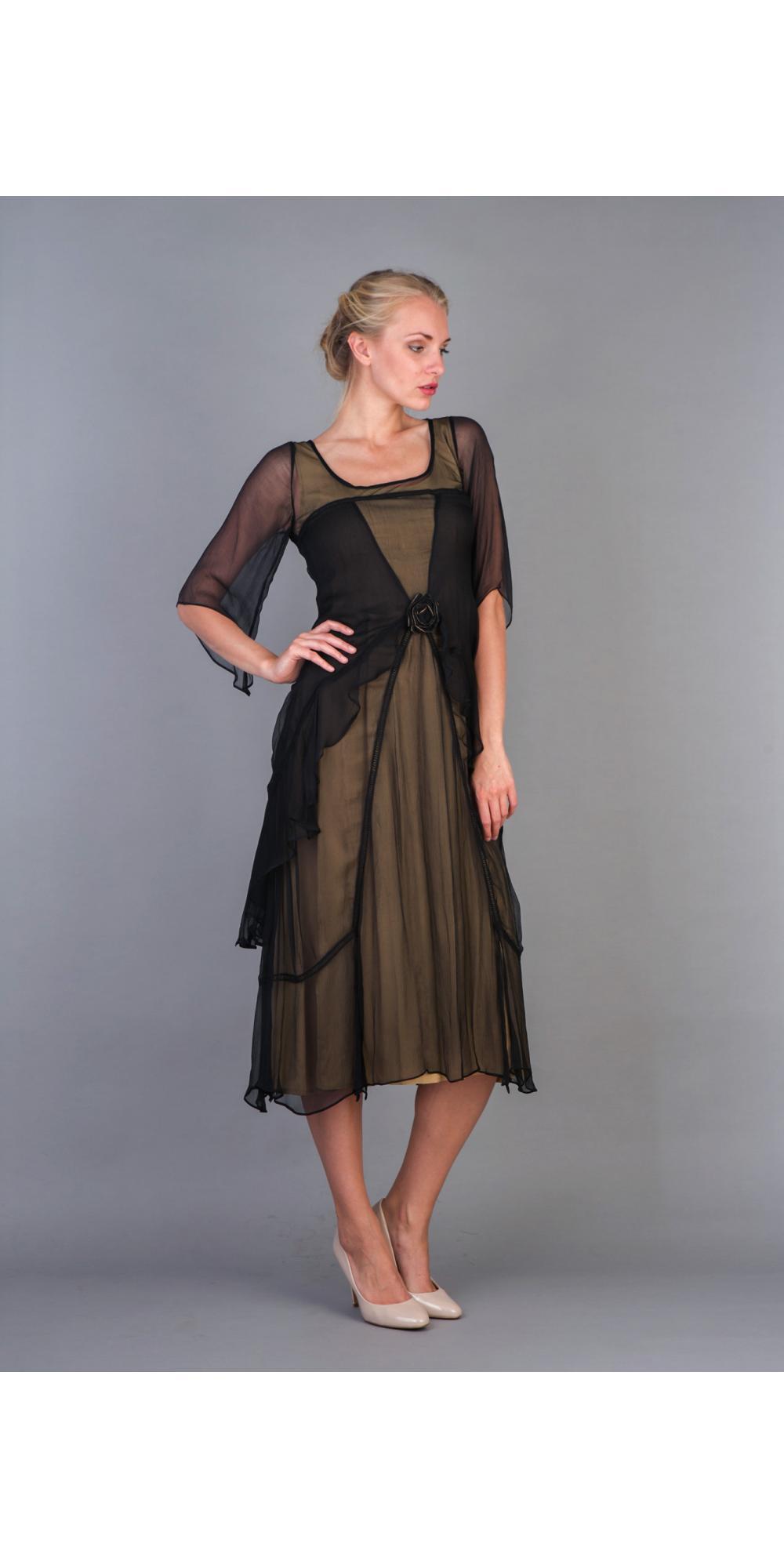 7cc50dc2083 Nataya 10709 Great Gatsby Dress in Black Gold