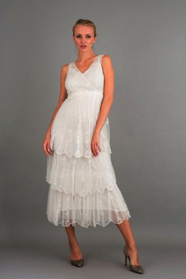 Nataya 40235 Ruffled Dress in Ivory