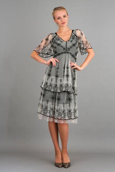 Nataya 40251 Vintage Inspired Short Dress in Black/Ivory