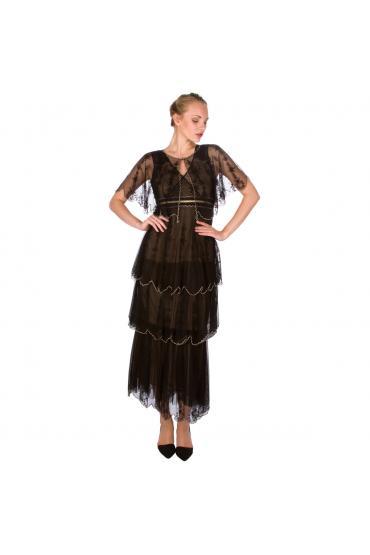 Nataya 40235 Vintage Inspired Party Dress in Black
