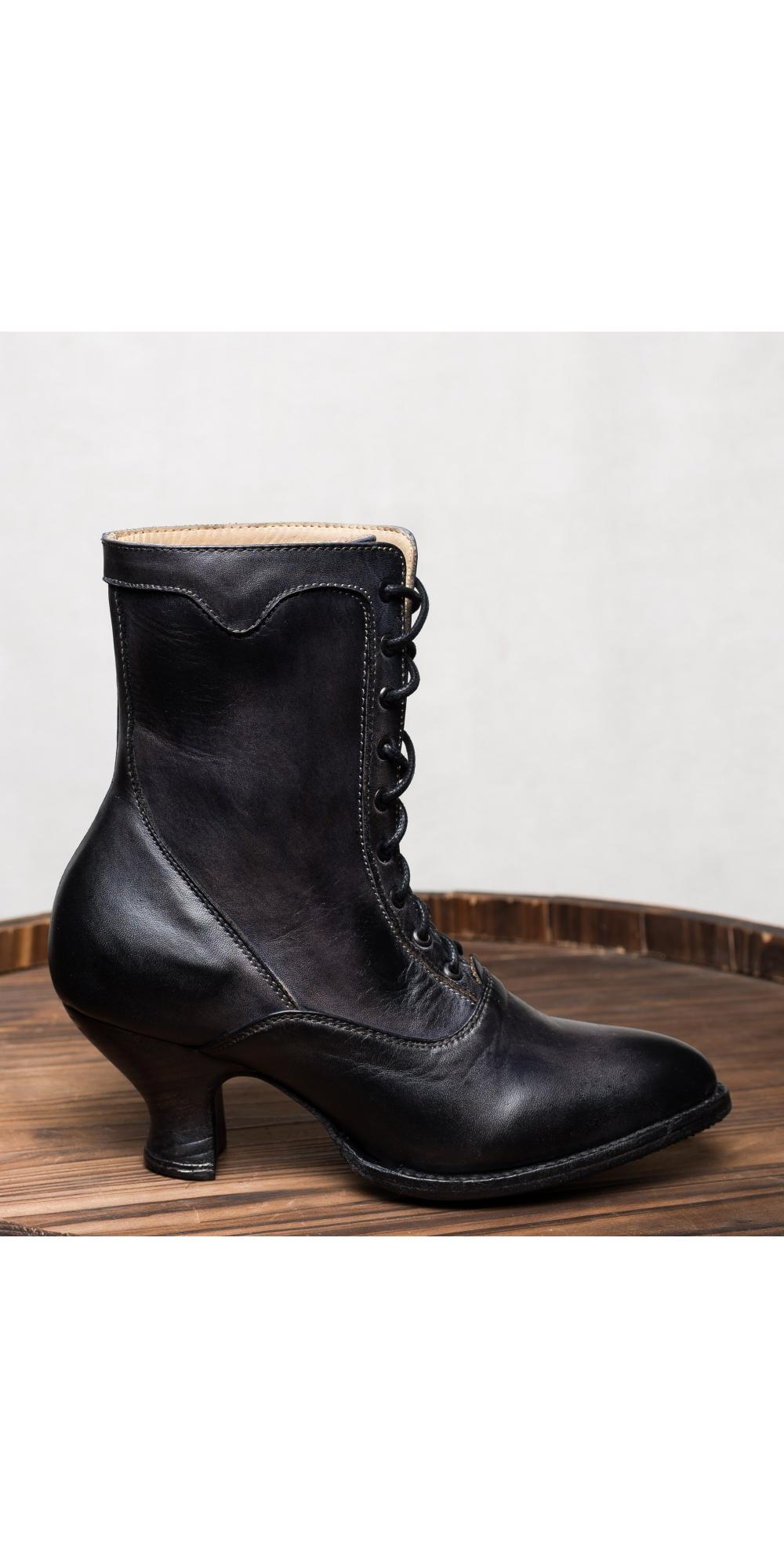 Victorian Style Ankle Boots In Black Rustic