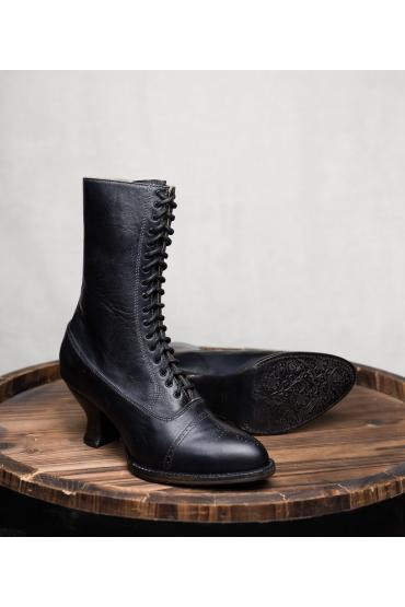 Victorian Style Leather Boots in Black Rustic