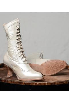 Victorian Inspired Wedding Boots in Pearl