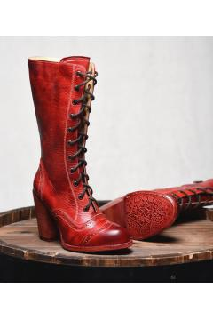 Victorian Inspired Leather Boots in Red Rustic