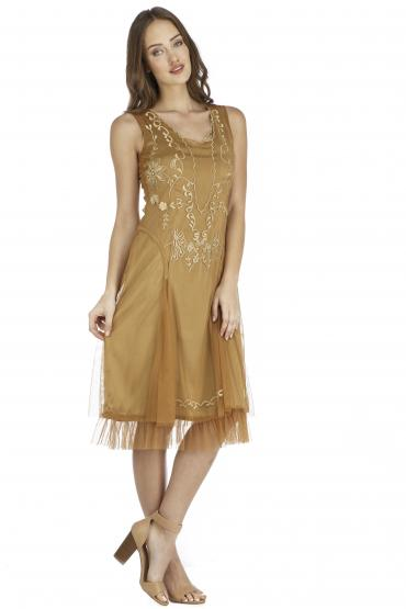 Nataya AL-254 Vintage Style Party Dress in Bronze